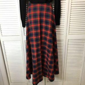 Plaid wool skirt Christmas colors floor length M